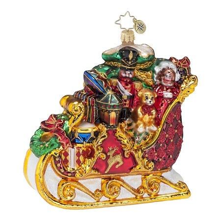 RADKO 1016700 DASHING THROUGH THE SNOW - RED & GOLD SLEIGH FULL OF GIFTS & TOYS ORNAMENT - NEW 2013 (13-12)