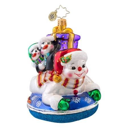 RADKO 1017073 SNOW DAY - SNOWMAN & 2 PENGUINS ON SLED ORNAMENT - NEW 2014 (14-4)