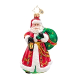 RADKO 1017181 CARRYING THE JOY - BRILLIANT TREASURE - SANTA WITH LANTERN & BAG ORNAMENT - NEW 2014 (14-7)