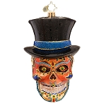RADKO 1017401 MR DEAD - HALLOWEEN - SKULL WITH TOP HAT ORNAMENT - NEW 2014 (H5)