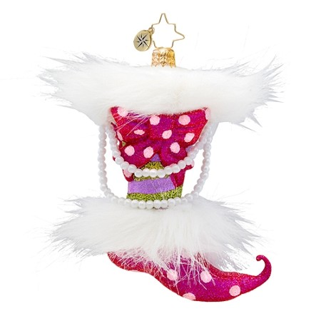 RADKO 1017415 TWISTED TOES - STOCKING WITH FUR AND PEARLS ORNAMENT - NEW 2014 (14-13)
