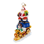 RADKO 1017572 RIDING HIGH NICK - SANTA & PENGUIN ON TRAIN ORNAMENT - NEW 2015 (15-3)