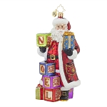 RADKO 1017618 SIMPLY NOEL - SANTA WITH NOEL BLOCKS & GIFT - DESIGNER'S CHOICE ORNAMENT - NEW 2015 (15-1)