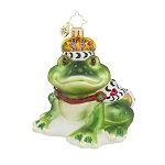 RADKO 1017642 SIR HOP-A-LOT - FROG WITH CROWN ORNAMENT - NEW 2015 (15-5)