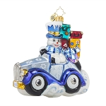 RADKO 1017655 FROSTY WHEELS - SNOWMAN RIDING IN CAR WITH GIFTS ORNAMENT - NEW 2015 (15-6)