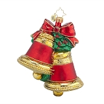 RADKO 1017660 CHRISTMAS CHIMES - 2 RED & GOLD BELLS ORNAMENT - NEW 2015 (15-6)