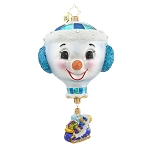RADKO 1017665 DELIVERY - JEWELED SNOWMAN HOT AIR BALLOON WITH SLEIGH DANGLE ORNAMENT - NEW 2015 (15-6)
