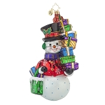 RADKO 1017668 SHOP AWAY SNOWMAN - SHOPPING SNOWGIRL WITH STACK OF GIFTS ORNAMENT - NEW 2015 (15-6)