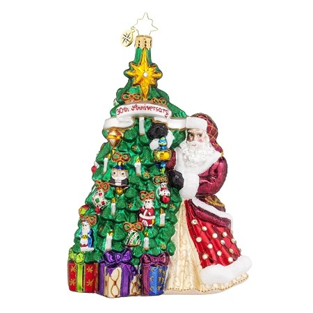 RADKO 1017682 HANGING WITH JOY - 30TH ANNIVERSARY COLLECTION - SANTA & TREE ORNAMENT - NEW 2015 (15-1)