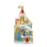 RADKO 1017687 MY BLUE HEAVEN - SNOW COVERED CHURCH ORNAMENT - NEW 2015 (15-7)