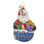 RADKO 1017691 POPPIN' UP FOR PRESENTS - DATED 2015 - SANTA WITH GIFTS ORNAMENT - NEW 2015 (15-2)