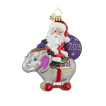 RADKO 1017693 CIRCUS RIDE SANTA - BABY'S FIRST CHRISTMAS - DATED 2015 - SANTA RIDING ELEPHANT ORNAMENT - NEW 2015 (15-2)