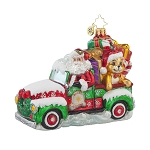 RADKO 1017698 KEEP IT MOVING NICK - SANTA DRIVING PICK UP TRUCK FULL OF TOYS & GIFTS ORNAMENT - NEW 2015 (15-7)