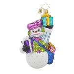 RADKO 1017702 COOL DELIVERY - BRILLIANT TREASURE - SNOWMAN WITH GIFTS ORNAMENT - NEW 2015 (15-7)