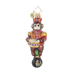 RADKO 1017706 MONKEYING AROUND GEM - MONKEY PLAYING DRUM ON UNICYCLE ORNAMENT - NEW 2015 (23)