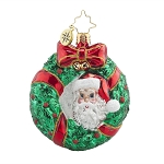 RADKO 1017709 PEEK - A - BOO SANTA GEM - SANTA IN WREATH ORNAMENT - NEW 2015 (23)