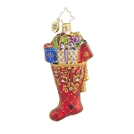 RADKO 1017711 BEAUTIFULLY STOCKED GEM - STOCKING WITH GIFTS ORNAMENT - NEW 2015 (23)