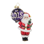 RADKO 1017731 MY FAVORITE YEAR - DATED 2015 - SANTA HOLDING ORNAMENT ORNAMENT - NEW 2015 (15-2)