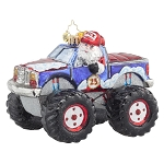 RADKO 1017735 FREE WHEELIN' SANTA - SANTA DRIVING MONSTER TRUCK ORNAMENT - NEW 2015 (15-7)