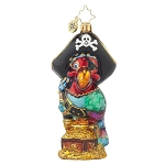RADKO 1017736 POLLY PIRATE - BIRD WITH EYE PATCH & POT OF GOLD ORNAMENT - NEW 2015 (15-8)