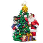 RADKO 1017742 TRIMMIN' THE TREE - SANTA & SNOWMAN DECORATING TREE WITH CANDY CANES ORNAMENT - NEW 2015 (15-8)