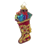 RADKO 1017751 REGAL STOCKING - RED & GOLD STOCKING FULL OF GIFTS ORNAMENT - NEW 2015 (15-8)