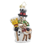 RADKO 1017754 GOOD FRIENDS FOREVER - SNOWMAN WITH DEER ORNAMENT - NEW 2015 (15-8)