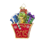 RADKO 1017757 PRESENTLY SHOPPING - DATED 2015 - BRILLIANT TREASURE - BAG FULL OF GIFTS ORNAMENT - NEW 2015 (15-2)