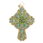 RADKO 1017768 EMERALD ROOD - RELIGIOUS - GREEN CROSS ORNAMENT - NEW 2015 (15-9)