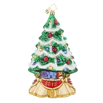 RADKO 1017770 FANCIFUL SPRUCE - DATED 2015 - TREE WITH CANDLES ORNAMENT - NEW 2015 (15-2)
