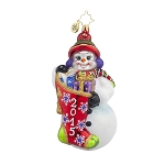 RADKO 1017772 A YEAR TO GIVE - DATED 2015 - SNOWMAN HOLDING STOCKING ORNAMENT - NEW 2015 (15-2)