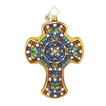 RADKO 1017781 MOSAIC MASTERPIECE - RELIGIOUS - STAINED GLASS CROSS ORNAMENT - NEW 2015 (15-9)