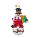 RADKO 1017787 WINTERLAND GENT - SNOWMAN WITH PAINTED REINDEER ORNAMENT - NEW 2015 (15-9)