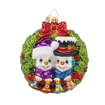 RADKO 1017800 PERFECT COUPLE - DATED 2015 - SNOWMAN WITH SNOWGIRL IN WREATH ORNAMENT - NEW 2015 (15-2)