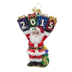 RADKO 1017807 A YEAR TO DISPLAY - DATED 2015 - SANTA HOLDING GIFTS ORNAMENT - NEW 2015 (15-2)