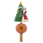 RADKO 1017835 HANGING WITH JOY FINIAL - 30TH ANNIVERSARY COLLECTION - SANTA & TREE ON BALL WITH REFLECTOR - NEW 2015 (FIN-6)