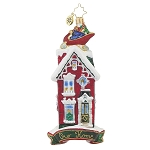 RADKO 1017850 ROOFTOP VISITOR - SLEIGH ON TOP OF HOUSE - OUR HOME ORNAMENT - NEW 2015 (15-11)