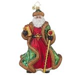 RADKO 1017851 LEAFY-LAUREL NICHOLAS - LIMITED EDITION OF 1200 - ELEGANT SANTA WITH STAFF AND GIFT ORNAMENT - NEW 2015 (15-2)