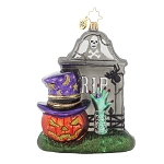 RADKO 1017856 FRIGHTENING ENCOUNTER - HALLOWEEN - HEAD STONE & JACK O LANTERN ORNAMENT - NEW 2015 (H6)