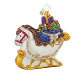 RADKO 1017859 EQUUS SLEIGH RIDE - HORSE SLEIGH WITH GIFTS ORNAMENT - NEW 2015 (15-11)
