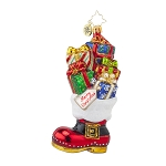 RADKO 1017862 CHRISTMAS LOOT BOOT - BOOT STOCKING WITH GIFTS ORNAMENT - NEW 2015 (15-11)