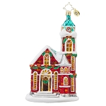 RADKO 1017863 BLESSED CONGREGATION - RELIGIOUS - SNOW COVERED CHURCH ORNAMENT - NEW 2015 (15-11)