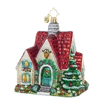 RADKO 1017865 PERFECT COTTAGE - RED ROOF HOUSE ORNAMENT - NEW 2015 (15-11)