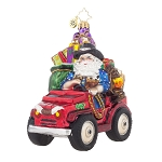 RADKO 1017867 PRARIE CLAUS - COWBOY SANTA IN JEEP ORNAMENT - NEW 2015 (15-11)