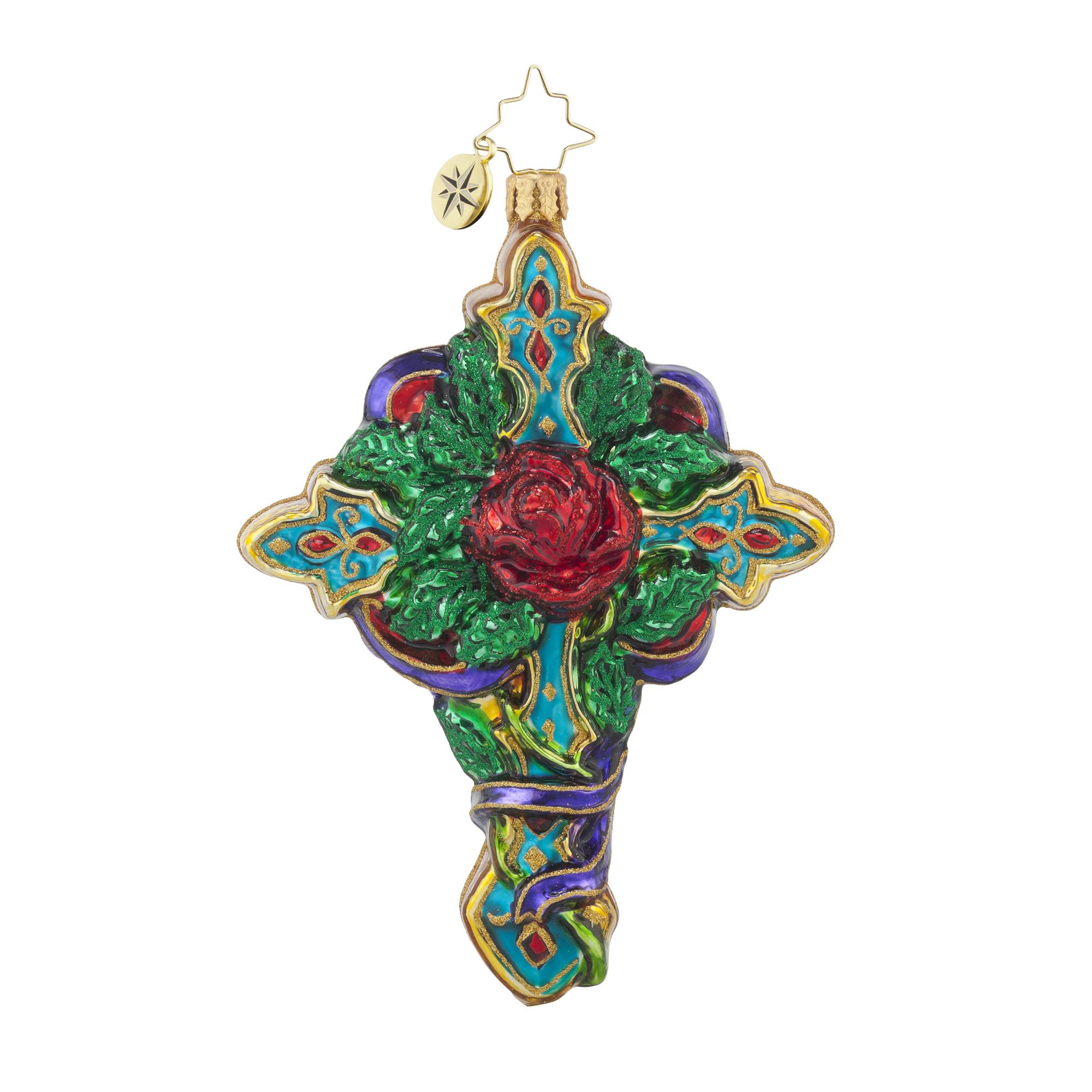 Vintage Religious Christmas Ornament: RADKO 1017868 CROSS ROSE