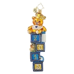 RADKO 1017869 TIP TOP TEDDY BOY - DATED 2015 - BLUE - TEDDY BEAR ON BLOCKS ORNAMENT - NEW 2015 (15-2)