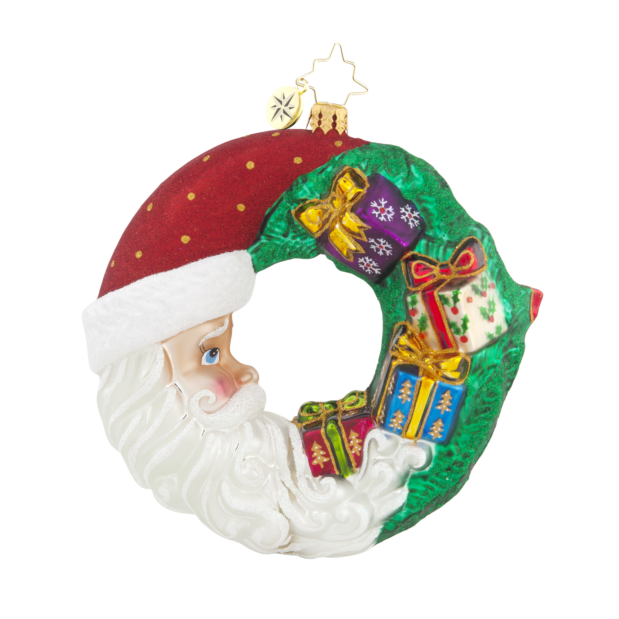 ... CRESCENT CHRISTMAS PRESENTS - CRESCENT SANTA WREATH ORNAMENT - NEW