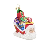 RADKO 1017895 SLEIGHING SANTA - SANTA SLEIGH FULL OF GIFTS ORNAMENT - NEW 2015 (15-12)