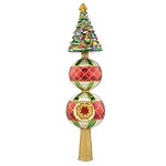 RADKO 1017899 CHRISTMAS MEMORIES FINIAL - JEWELED TREE ON BALL WITH REFLECTOR - NEW 2015 (FIN-6)