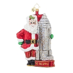 RADKO 1017903 MADE IN MANHATTAN - THE BIG APPLE - SANTA & THE EMPIRE STATE BUILDING ORNAMENT - NEW 2015 (15-12)
